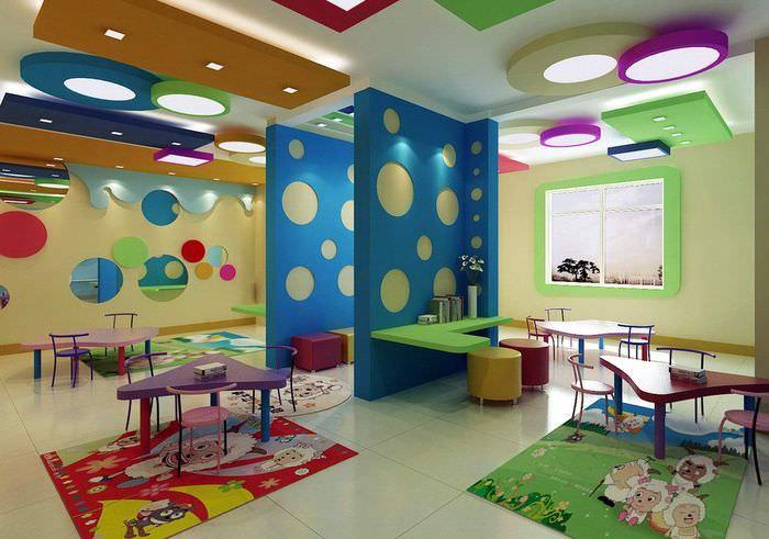 Зонирование перегородками групповой комнаты детского сада