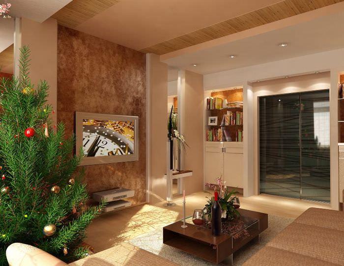Отделка стен гостиной пробковыми панелями
