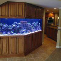 Кухонные шкафы с встроенным аквариумом