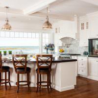Дизайн кухни-гостиной с аквариумом