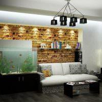 Ниша с подсветкой кирпичной стены
