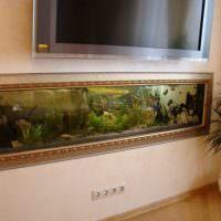 Встроенный аквариум в деревянном багете