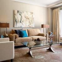 Акценты бирюзового цвета в интерьере гостиной