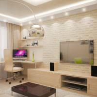 Компьютерный стол в дизайне гостиной