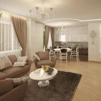 Дизайн кухни-гостиной в бежевых тонах