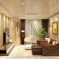 Глянцевый потолок в стильной гостиной