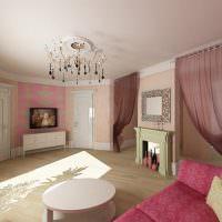 Розовые тона в интерьере гостиной