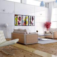 Дощатый пол в гостиной с панорамным окном