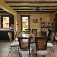Современный интерьер кухни-столовой в частном доме