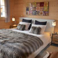Искусственный мех в интерьере спальни