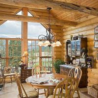 Бревенчатые балки в интерьере дачного дома
