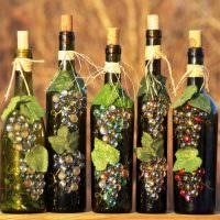 Красивый декор винных бутылок