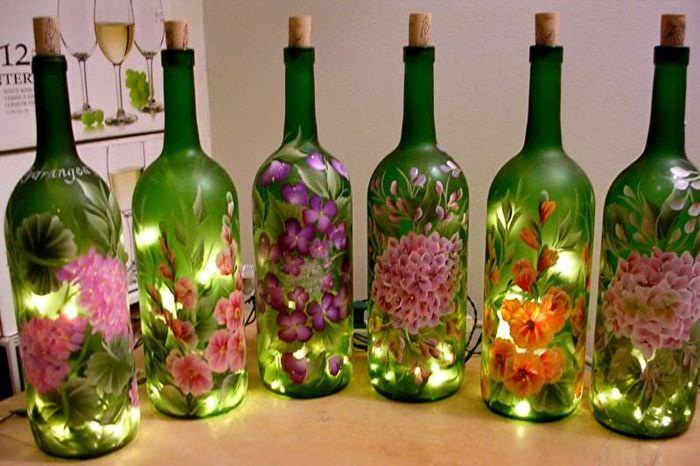декор стеклянных бутылок фото помощью