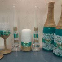 Использование шпагата для декора стеклянных изделий