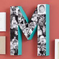 Объемная буква М с детскими фотографиями