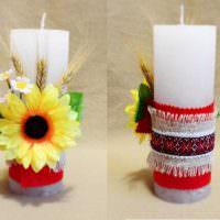 Декорирование свечей тканью и растениями