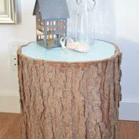 Декоративная тумбочка из деревянного пенька