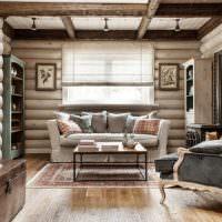 Дизайн гостиной в доме из оцилиндрованного бревна