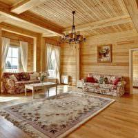 Пестрый ковер на деревянном полу