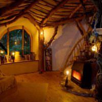 Интерьер жилой комнаты в старорусском стиле