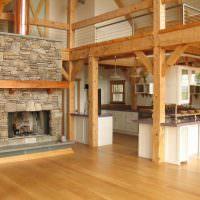 Деревянные конструкции в интерьере гостиной