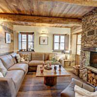 Дизайн гостиной в стиле альпийского шале