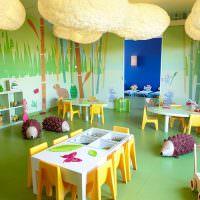 Объемные облака на потолке группы в детском саду