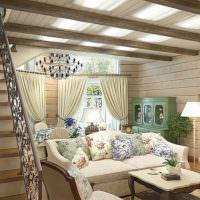 Дизайн небольшой гостиной с лестницей