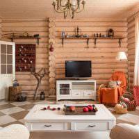 Интерьер гостиной с бревенчатыми стенами