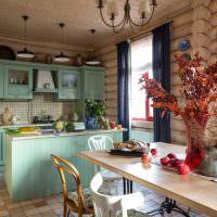 Дизайн кухни-гостиной в бревенчатом доме