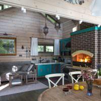 Дизайн гостиной с кирпичным камином