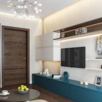 Современная корпусная мебель в гостиной хрущевки