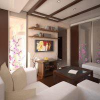 Современная гостиная с элементами японского стиля
