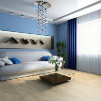 Синие шторы в дизайне гостиной