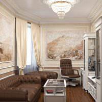 Художественная роспись стен классической гостиной