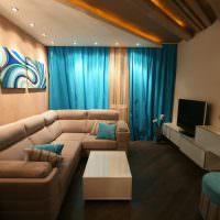 Модульная картина над бежевым диваном