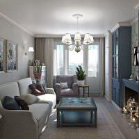 Дизайн вытянутой гостиной с низким потолком
