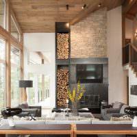 Дизайн современной гостиной с лестницей
