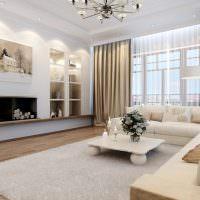 Дизайн белой гостиной с коричневым полом