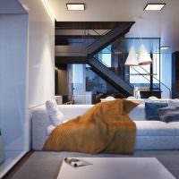 Железная лестница в интерьер гостиной частного дома