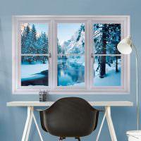 Зимний пейзаж в фальшивом окне