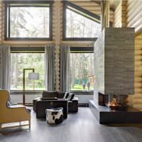 Камин в интерьере современной гостиной
