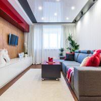 Интерьер узкой гостиной в современном стиле