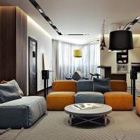 Мягкая мебель модульного типа в гостиной
