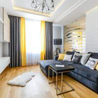 Желтый цвет в интерьере жилой комнаты