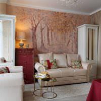 Фотообои в декоре гостиной классического стиля