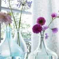 Стеклянные вазы в форме бутылей