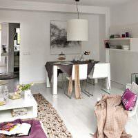 Оформление обеденной зоны в просторной кухне