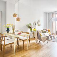 Зонирование гостиной с обеденной зоной