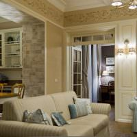 Оформление гостиной в пастельных тонах
